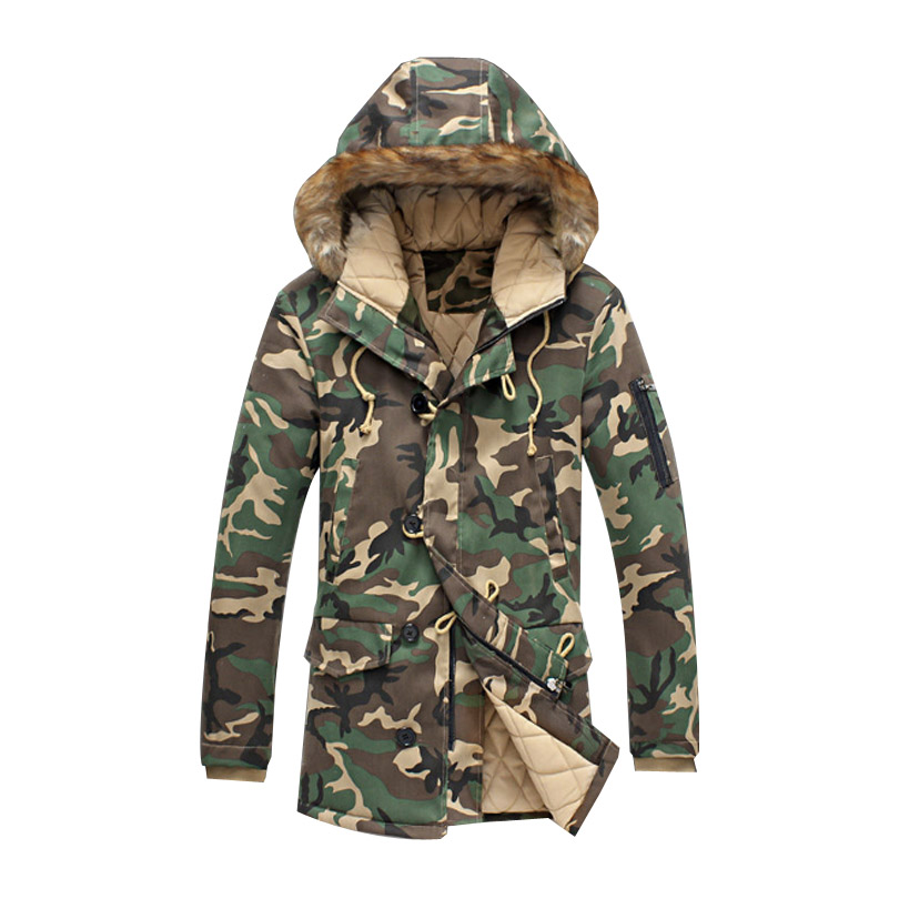 Winter Mens Clothing Thick Warm Long Camo Jackets Thick Winter Coat Military Men Parka With Fur Hood Fashion Overcoat Outerwear new men s military style casual fashion canvas outdoor camping travel hooded trench coat outerwear mens army parka long jackets