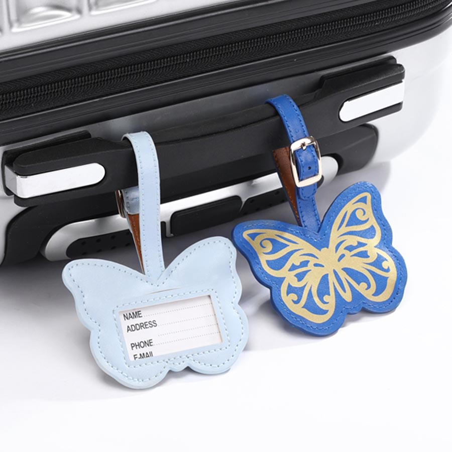 Zoukane Leather Suitcase Butterfly Luggage Tag Label Bag Pendant Handbag Portable Travel Accessories Name ID Address Tags LT25