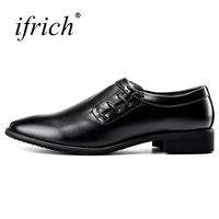 Ifrich New Mens Pointed Toe Dress Shoes Black Brown Formal Business Shoes Rubber Bottom Platform Shoes