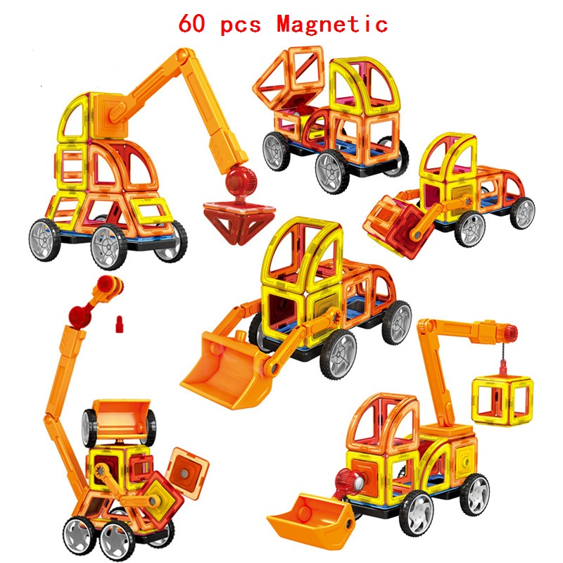 60Pcs/Set Magnetic Designer Building Blocks Models 3D DIY Plastic Creative Bricks Learning Educational Toy Truck Model Best Gift mtele brand 62 pcs pcs magnetic tiles designer construction kids educational toys creative bricks enlighten toy