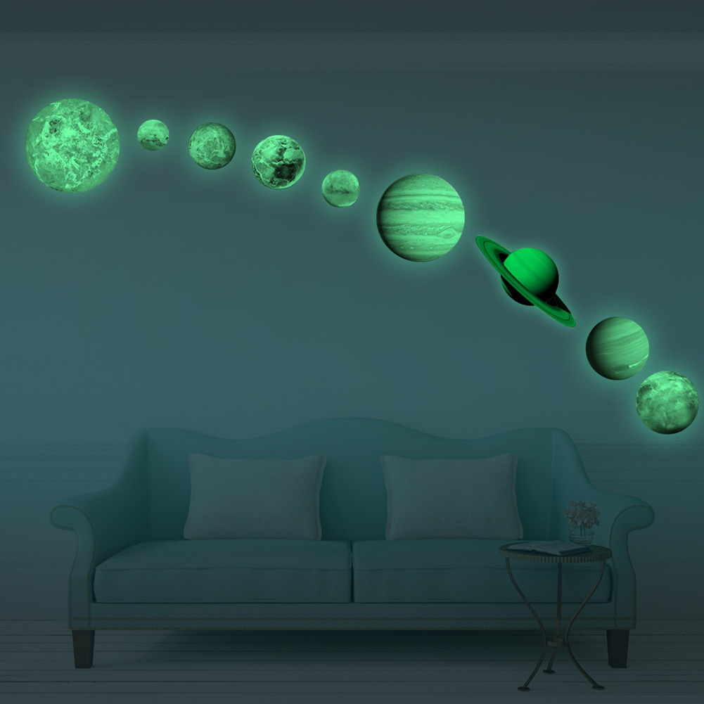 9-PCS Full Planet Solar System Fluorescent Wall Stick Decorative Stickers