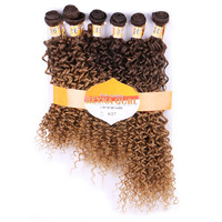 DELICE 6 Bundles 16 20inch Women S Jerry Curly Hair Weaving Ombre T4 27 Hair Extensions