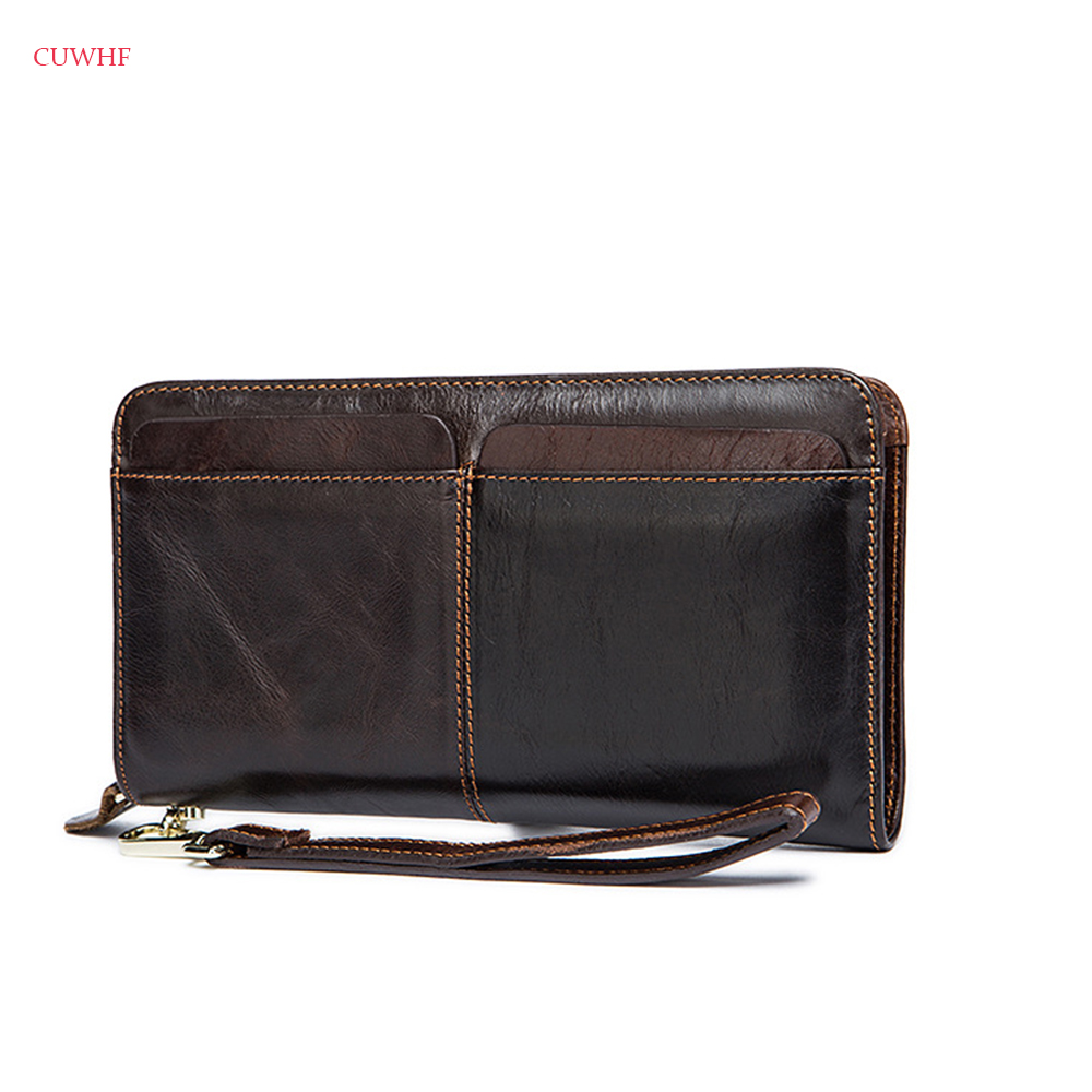 Genuine Leather Men wallets with coin pocket long zipper coin purse for men clutch business Male Wallet Vintage Large Wallet blevolo high capacity men wallets male long purses zipper leather money clips business clutch bags coin pocket wallet for men