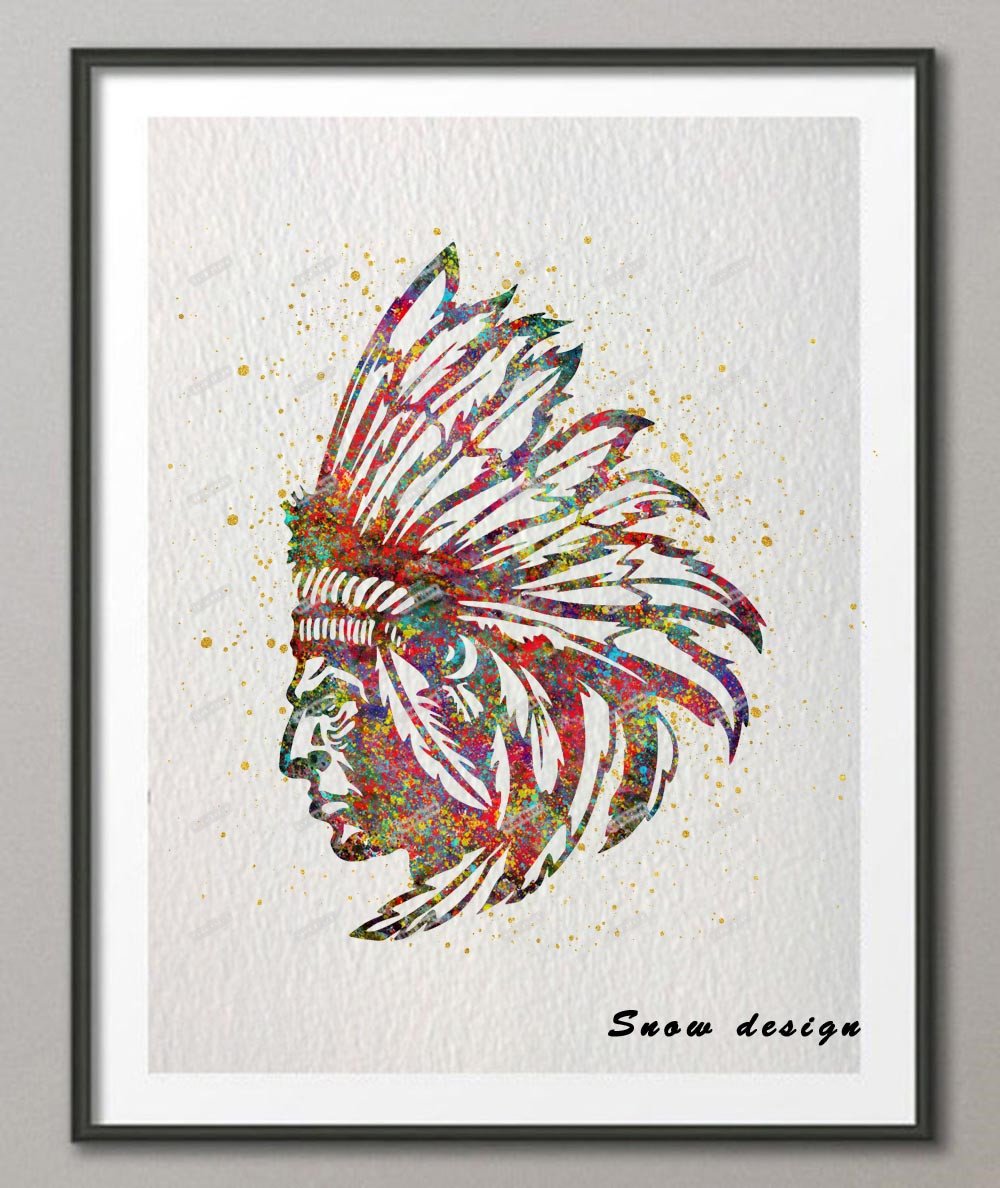 Original American Indian Chief watercolor wall art canvas painting ...