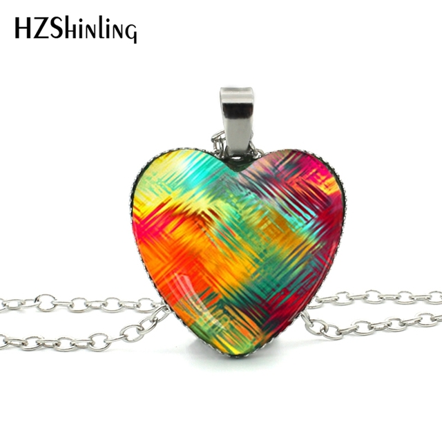 New Glass Dome Necklace Rainbow Colorful Purple Red Heart Necklace Art Photo Glass Pendant Silver Heart Shaped Necklaces HZ3