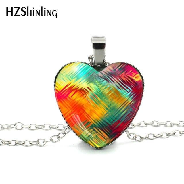 Novo Coração Vermelho Colar de Vidro Dome Colar Rainbow Roxo Colorido Da  Arte Da Foto de d64e8dac8b