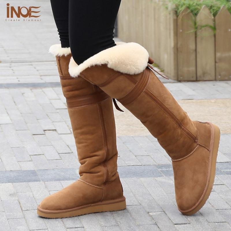 Womens Flat Winter Boots Slip On 100% Sheepskin Wool Lining