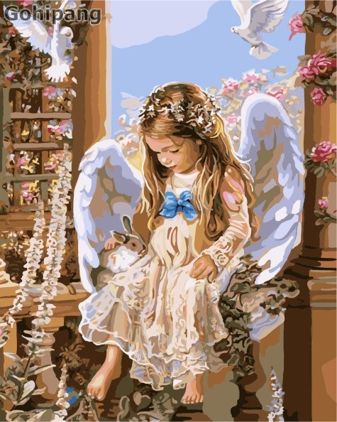 Buy Frameless painting wall acrylic paint by numbers diy painting by numbers unique gift oil painting angel little girl 40X50cm for $10.14 in AliExpress store