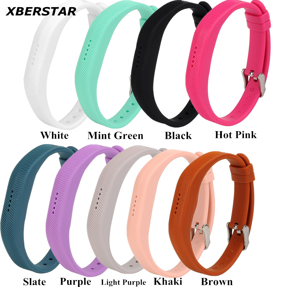 Silicone Wrist Sports Strap Holder Bands for Fitbit Flex 2 w/Classic Buckle