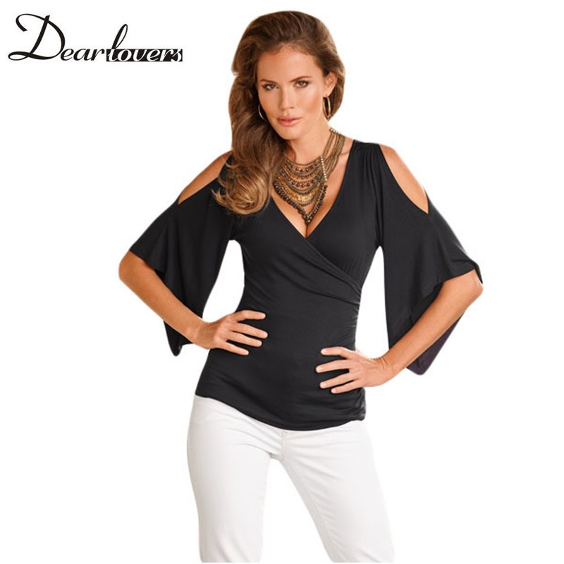 f79e03d50ed71 Aliexpress.com   Buy Dear lovers Casual Style T Shirt Women Black V Neck  Slit Half Sleeve Cold Shoulder Tops Fashion Wrap Top Camisetas Mujer  LC25869 from ...