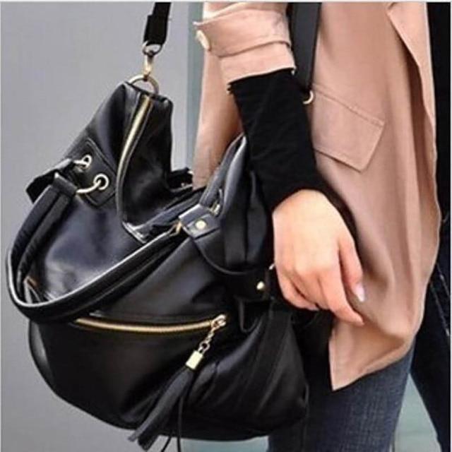 Large Women Bag Black Tassel Chain Shoulder Tote High Quality Pu Leather Handbags Famous