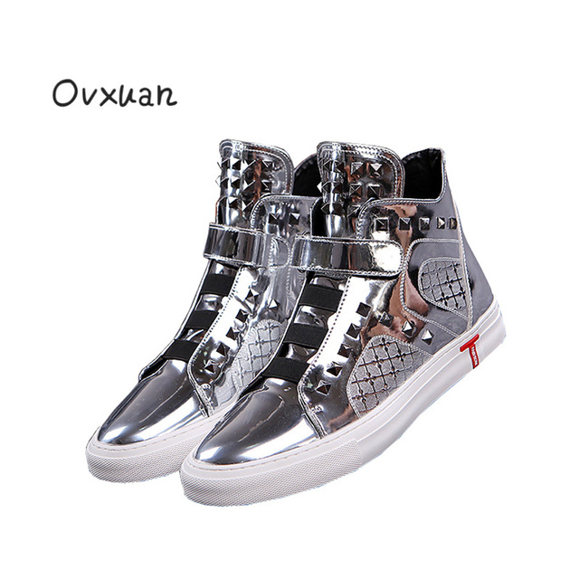 Ovxuan Leather Male High Top Street Sneakers Italian Designer Rhombus  Rivets Men Loafers Fashion Party Casual Dress Shoes Men 218bff17bb2c