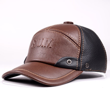 New Mens  genuine Leather Winter Warm Cowhide Baseball Golf Cap/Hat adjustable