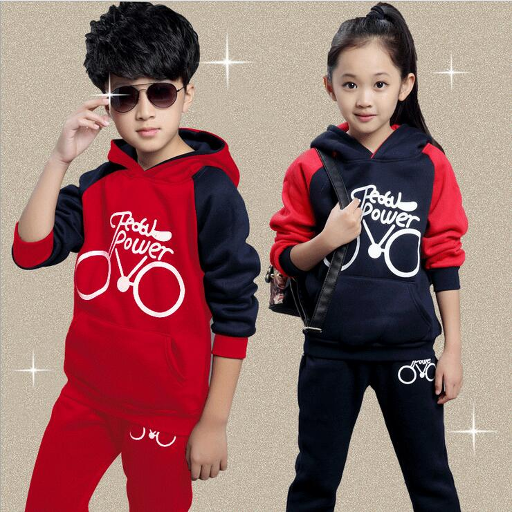 Hooded Kids Sport Suit Print Ropa De Ninos Varones Autumn And Winter Pullover Full Sleeve Children's Clothing Boys And Girls 2015 new autumn winter warm boys girls suit children s sets baby boys hooded clothing set girl kids sets sweatshirts and pant
