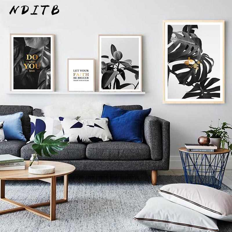 Tropical Plants Leaves Canvas Art Painting Landscape Posters Black White Prints Minimalist Wall Picture Modern Home Decoration