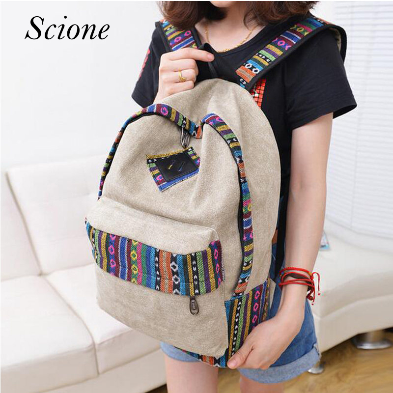 Ethnic Vintage Canvas Backpack Nation Rucksack Backpack Girls Female Mochila Escolar Printing Shoulder School Bags Bookbags Li47 стоимость