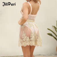 JillPeri Women Bodysuit and Bottom 2 Piece Set Dress Luxury Pearl Mesh Perspective Gold Dress Sexy Party Club Stretch Mini Dress