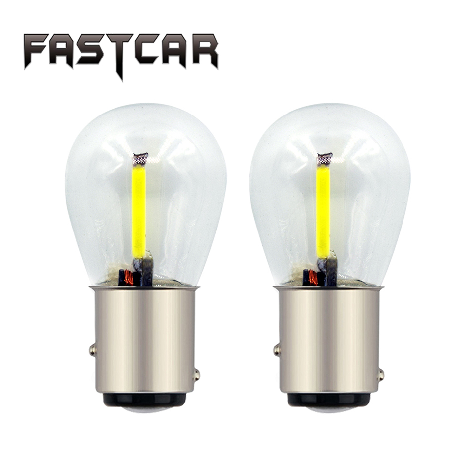 Fastcar 2x 1156 1157 LED light BAY15D BA15S P21W Filament Glass COB Brake Turn Signal Reverse Light Blub Red Yellow White 12-24V ...