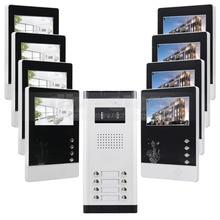 """DIYSECUR DIY 4.3 """"4-cableado Apartamento Videoportero Audio Visual Intercom Sistema de Entrada de la Cámara de INFRARROJOS para 8 Familias"""