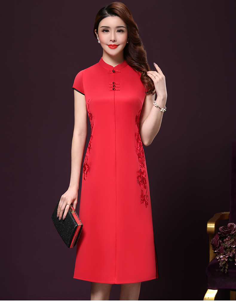 Plus size 4XL Chinese Style High-End Silk Vintage Embroidered Summer Dress Women Collar Short-Sleeve One-Step Dress female P168 15