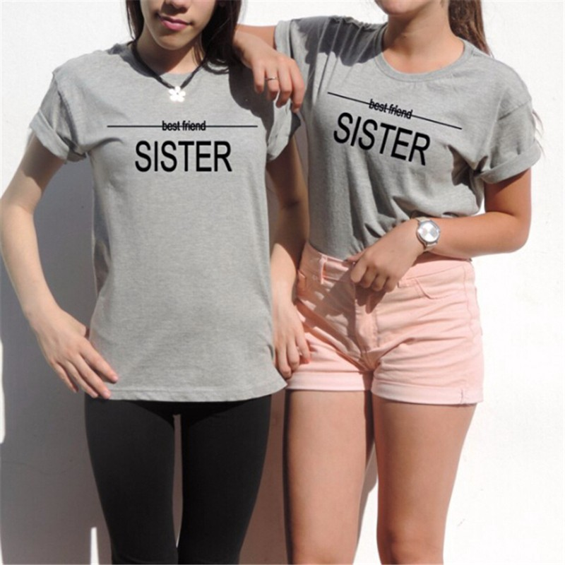 f111f6a1a Sisters Shirt Women Plus Size Best Friends T Shirt Unbiological Tumblr Tee  Tops Girls Casual Print