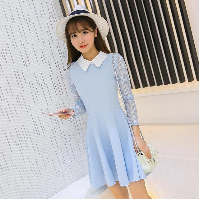 0210639fedc A-line Skater Dress Spring Party Dress Peter pan Collar Long Sleeve Pink  Sky Blue Solid Pleated Short Mini Casual Vestidos 2016