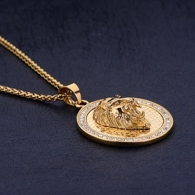 316L titane acier couleur or rond tête de Lion pendentif collier avec Zircon mode Hip Hop Rock bijoux pour hommes et femmes