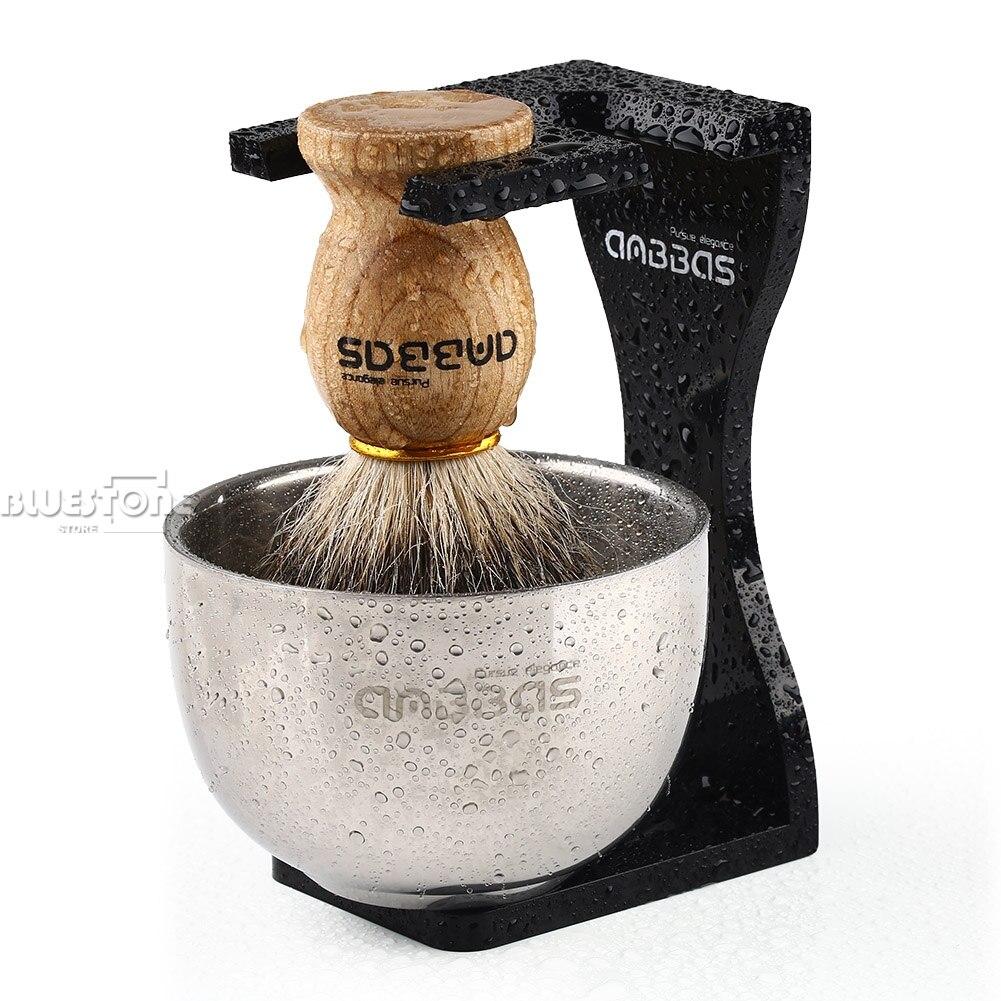 Anbbas Barber Shaving Brush Badger Hair, Clear Acrylic Stand, Bowl Set