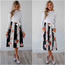 Plus Size 2019 Boho Spring Autumn Dress White Black Blue Printed Dresses  Women Clothing Belt Patchwork Bowknot Pockets Vestidos plus size brief slash pockets blue dress