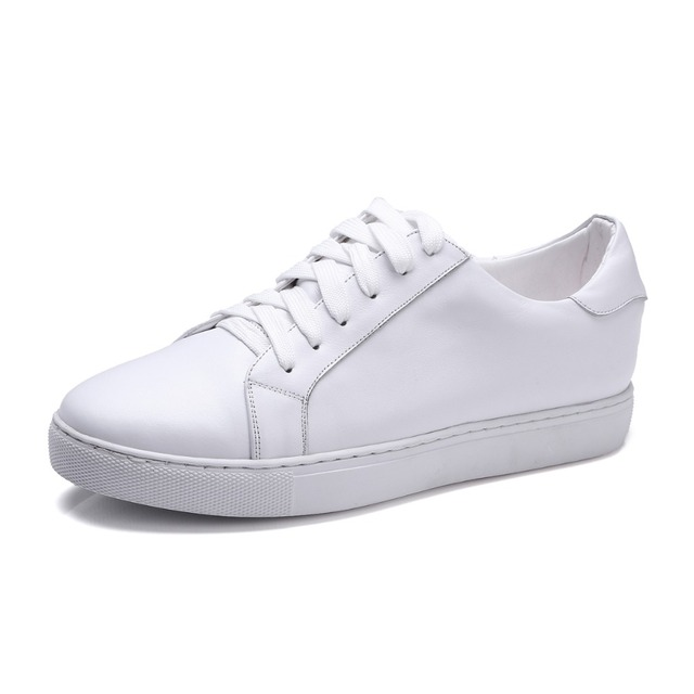 Pure white color Women flats Genuine leather Slip on shoes for women Chunky  sole sapato oxford 63e50c9774