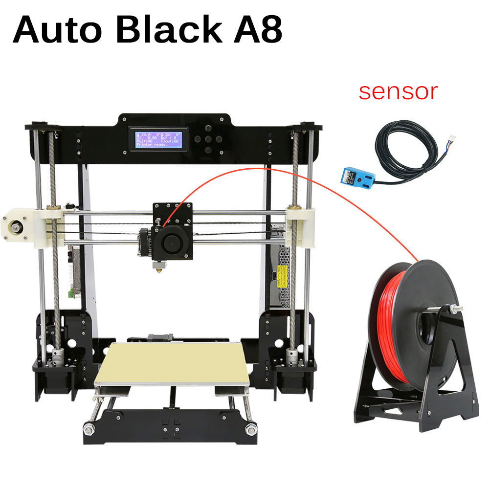 With Free Filament SD Card LCD Hotbed as Gift Upgrate Anet A6 & A8 3D Printer High Precision Reprap Prusa i3 DIY 3D Printer Kit  silver color aluminium frame 3d printer 6 options diy prusa i3 3d printer kit hotbed lcd screen 2roll filament 8gb sd card