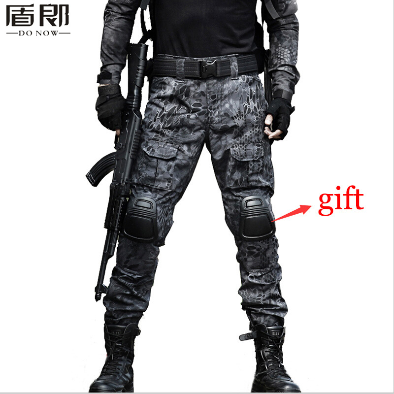 Outdoor Tactical Mens Hunting Clothing Military Combat Hunting Clothes Army Camouflage Tatico Pants With Knee Pads Ghillie Suit