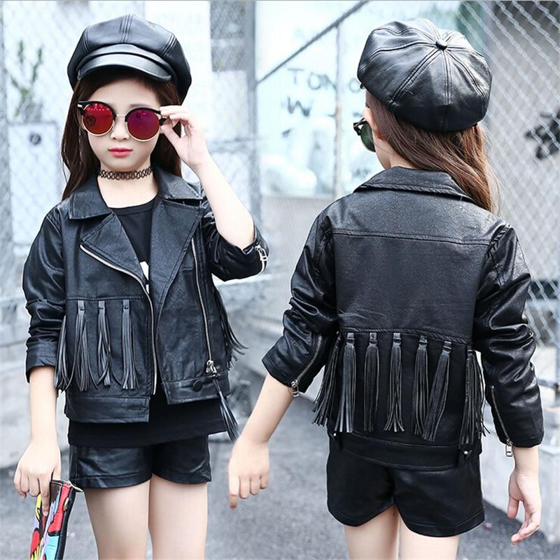 0493d710f67 autumn fashion kids leather jacket girls PU jacket children leather ...