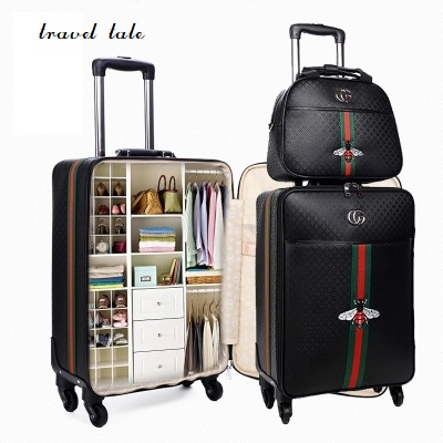 Travel tale fashion 16/20/24 size 100%PU Rolling Luggage Spinner brand Travel Suitcase travel tale new fashion contracted rolling luggage spinner brand travel suitcase 20 22 24 26