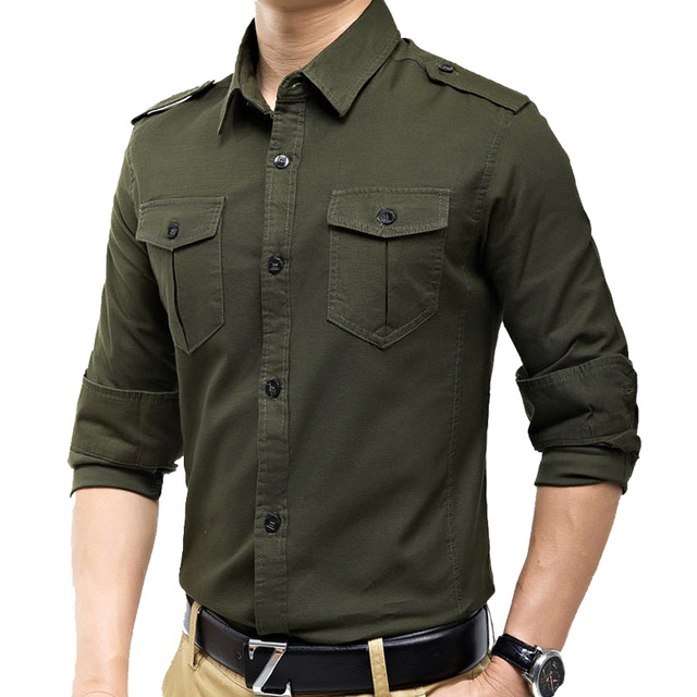 d49ecde5e New arrivals military vintage slim fit long sleeve shirt causaul shirts  Yellow Army green M-