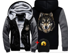 Veste Loup หมาป่า DREAM ผู้ชายผู้หญิงหนาเสื้อแจ็คเก็ตฤดูหนาวที่อบอุ่นหมาป่าน่ากลัว Cool Street กำมะหยี่เสื้อกันหนาว hoodies