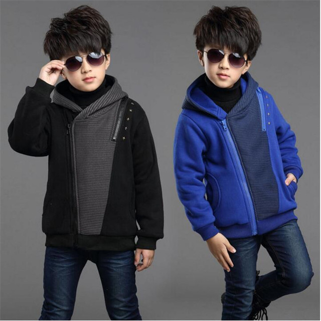 2018 boy jacket autumn winter New children's plus velvet coat children's clothing winter thickening hooded Korean men's jacket