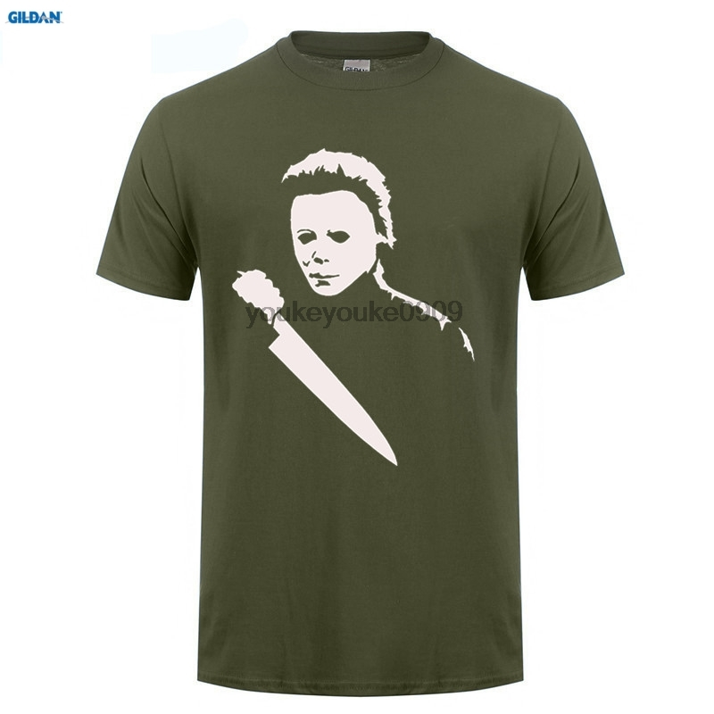 GILDAN T-Shirt Solid Scary Movie Horror Halloween Michael Myers Mask And Drips T Shirt Mens Tees New Brand Man T Shirt Dress ...