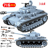 Technik Military Bricks Sets Compatible WW2 German Tank Army City Soldier Police Weapon Building Blocks Toys for Boys