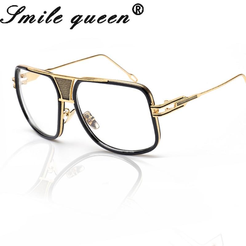 1e3f849f0016 Oversized Glasses Men Brand Designer Flat Top Glasses Frame 18 K Gold  Square Male Clear Glasses Women Oculos De Grau