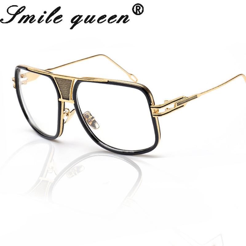 oversized glasses men brand designer flat top glasses frame 18 k gold square male clear glasses