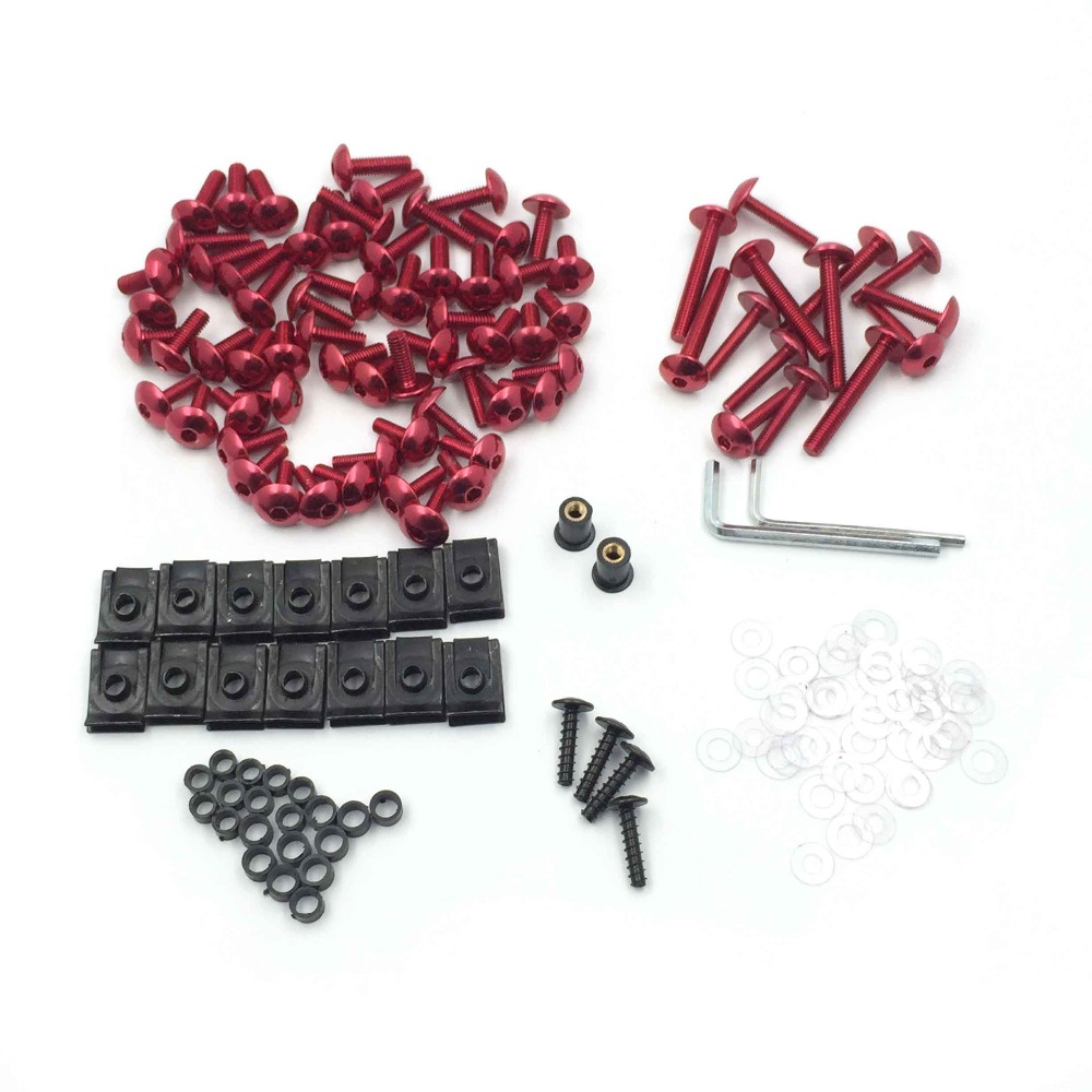 Aftermarket free shipping motorcycle parts Complete Fairing Bolts Screws Fasteners Kit For Yamaha Yzf R1 R6 F6R Fz1 Fz8 RED universal windshield cnc motorcycle fairing body work fasten bolts screws for yamaha fz1 fazer fz6r fz8 xj6 fz6 mt 09 fz 09