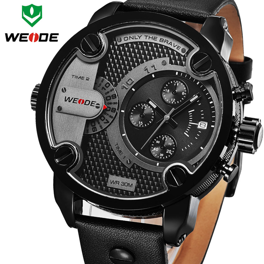 weide sport watches men luxury black leather strap quartz dual time zone analog date men military male clock oversize wristwatch 2016 New WEIDE Luxury Brand Quartz Watches Men Dual Time Oversize Clock Men Sports Military Leather Strap Fashion Wrist Watch
