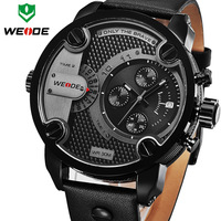 2016 New WEIDE Luxury Brand Quartz Watches Men Dual Time Oversize Clock Men Sports Military Leather