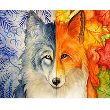 5D Diy Round Diamond Painting Animal Fox Cross Stitch Embroidery Set Mosaic Home Decoration