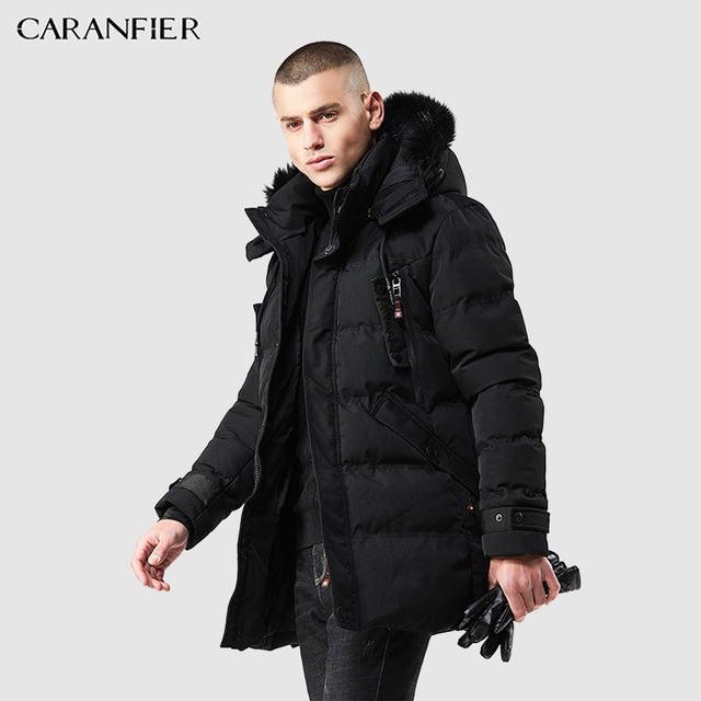 1f7b8415f8c CARANFIER Winter Men Parka Jacket Long Coat Male Thick Cotton-Padded Jacket  High Quality Parka Coat Male Fashion Casual Coats