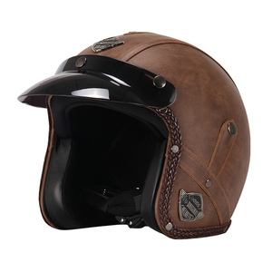 Image 3 - New Retro Vintage German Style Motorcycle Helmet 3/4 Open Face Helmet Scooter Chopper Cruiser Casco Moto Helmet Glasses Mask