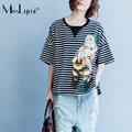 MissLymi Plus Size Women Loose Striped Short Sleeve T-shirt 2017 New Summer Casual Patchwork Cartoon Print Asymmetry Tops