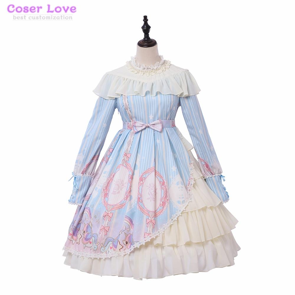 Vêtements quotidiens doux amour Lolita licorne étoiles op manches longues robe