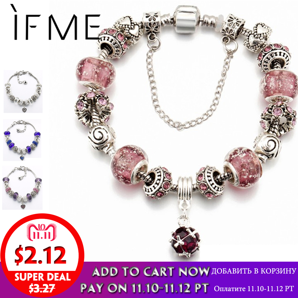 IF ME Vintage DIY Crystal Glass Beads Charms Bracelets For Women Famale Pendant Bracelets & Bangles Pulsera Jewelry Snake Chain